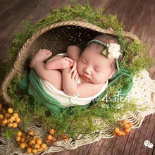 Photography-Props Newborn-Basket Wood Cribs Photo-Studio Hand-Woven