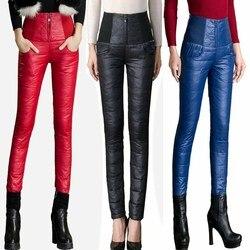 Inverno mulher para baixo calças de cintura alta exterior wear calças mulheres magro quente grosso 90% pato branco para baixo calças magras