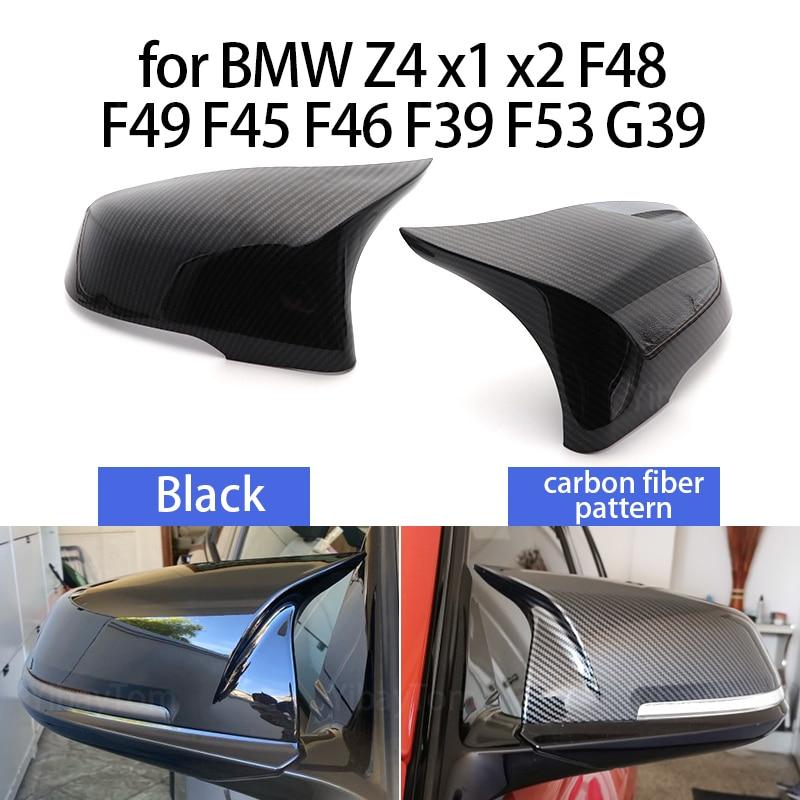 Автомобильный Стайлинг, отличные черные зеркальные крышки, узор из углеродного волокна для BMW 2 серии Z4 X1 X2 F48 F49 F45 F46 F39 F53 G39, 2 шт.