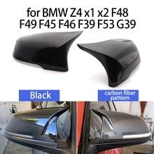 2 pçs estilo do carro excelente preto espelho capa tampas de fibra carbono padrão para bmw z4 x1 x2 f48 f49 f46 f39 f53 g39
