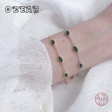 OBEAR 100% 925 Sterling Silver Simple Geometric Green Zircon Bracelets & Bangles for Women Silver Jewelry obear 100% 925 sterling silver earrings for women geometric rectangle zircon earrings girl gift silver jewelry