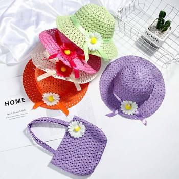 bucket shaped straw tote bag Hot Selling Summer Sun Hat Girls Kids Straw Hat Cap Beach Hats Bag Flower Tote Handbag Bags Suit Tote Handbag Flower Straw Cap