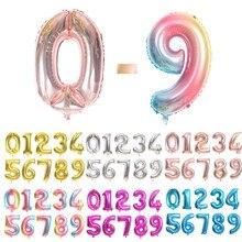 16 32 40 Polegada prata ouro azul rosa folha número balões digital adulto festa de casamento decoração do chuveiro do bebê criança brinquedos balão