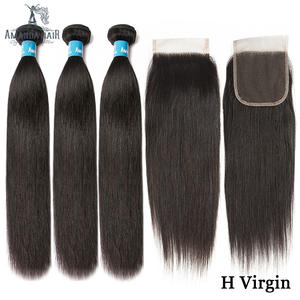 Amanda Double Drawn Hair Bundles with Closure 4x4 Unprocessed Virgin Human Hair Straight Brazilian Hair Bundle with Closure