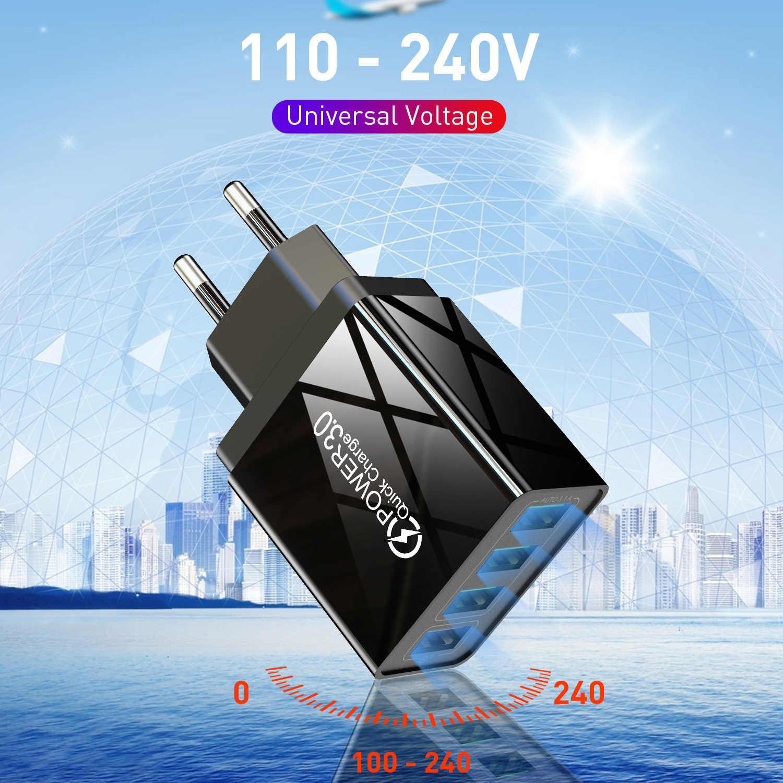 GTWIN ładowarka USB szybkie podróży telefon komórkowy ładowania szybkie ładowanie ściany ue w wielkiej brytanii QC 3.0 przejściówka adapter dla iPhone Huawei Mate 30 Pro