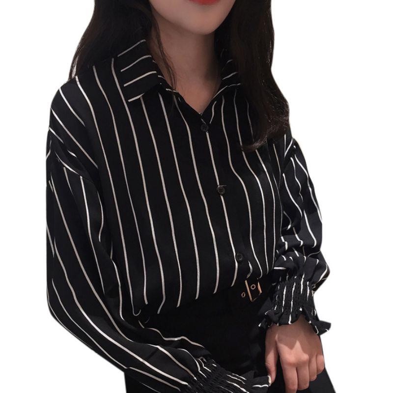 Рубашка Осень новинка 2019 модные новые осенние женские рубашки винтажные полосатые рубашки с отложным воротником рубашки