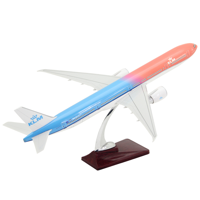 47CM AIR KLM Royal Dutch Airlines Plane Boeing B777 Aircraft Model Resin Diecast Toys Kids Gift Collectible Display image
