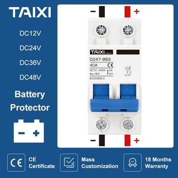 Protector de batería de coche DC12V 24V 48V 36V DC MCB, disyuntor DZ47 Mini, interruptor de rotación positivo y negativo 1