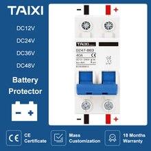 Dc12v 24v 48v 36v dc mcb bateria carro protetor mini disjuntor dz47 dc positivo e negativo pólo rotection interruptor isolador