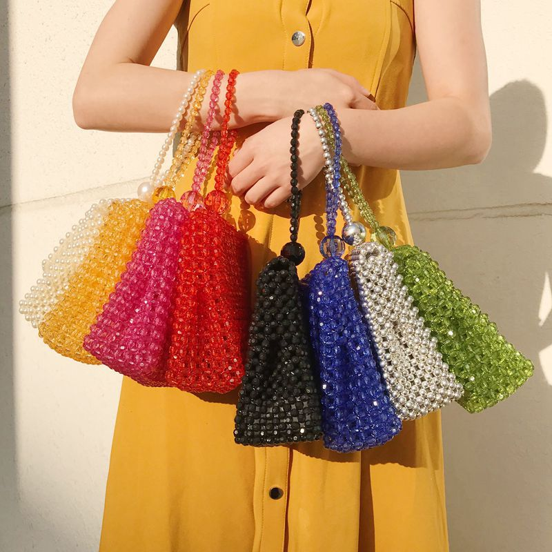Shoulder Woven Bag Handbag Celebrity INS Retro Handmade Beaded Bag Versatile Designer Bags Famous Brand Women Bags 2020