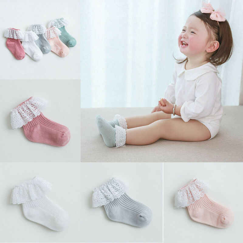 2020 Cute Baby Girls Ankle Fancy Retro Lace Socks Ruffle Princess Soft Cotton Beauty Socks Solid Rib Socks Wholesale 6M-5T