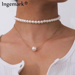 Collier gothique Baroque avec pendentifs à perles, ras du cou, pour mariage, multicouches, Punk, chaîne de perles blanches, breloque collier bijoux
