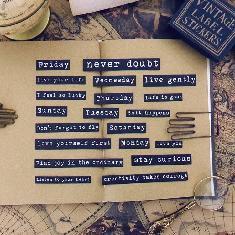 20Pcs/Pack Vintage Black Words Letters Sticker DIY Craft Scrapbooking Album Junk Journal Planner Decorative Stickers