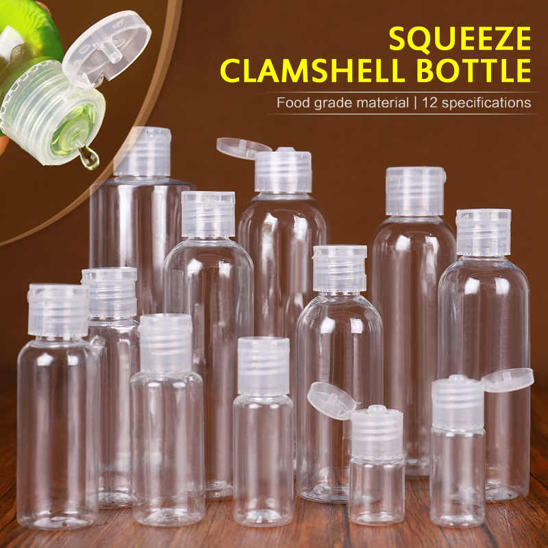 1Pc 5/10/30/50/80/120/200/250 Ml Plastic Transparent Bottle Butterfly Cap Makeup Tool Sub-bottling Clamshell Bottle