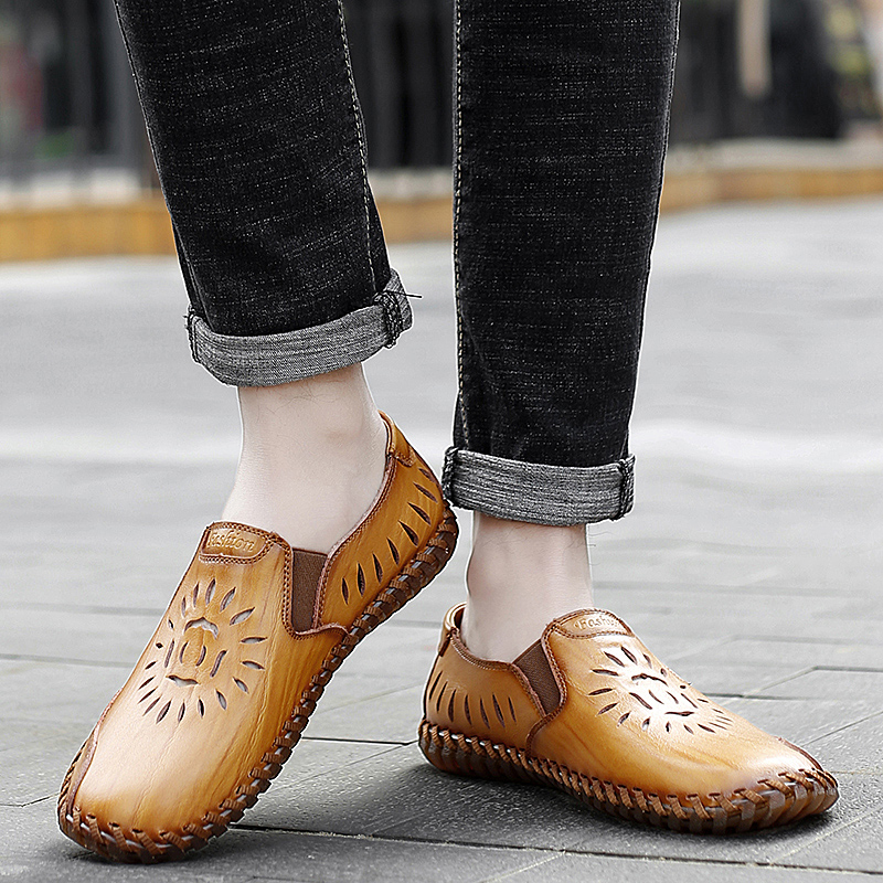 men genuine leather casual loafers Summer flats slip-on breathable handmade sewing moccasins autumn punching fashion drive shoes 2