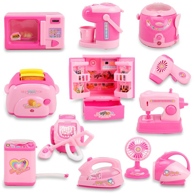 Pink Household Appliances Children Pretend Play Toaster Vacuum Cleaner Cooker Educational Kitchen Toys Set For Kids Girls Toy