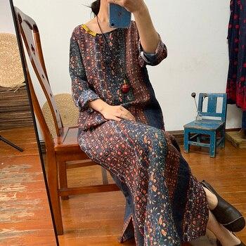 Original gehobenen dark blume reine ramie kleid kleid lose lange retro leinen kleid der frauen frühling und sommer dünne