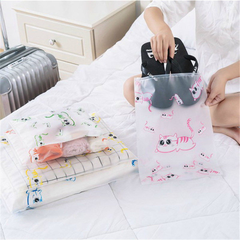 Vogvigo Cartoon Cat Transparent Cosmetic Bag Travel Makeup Case Zipper Make Up Organizer Storage Pouch Toiletry Wash Bath Kit