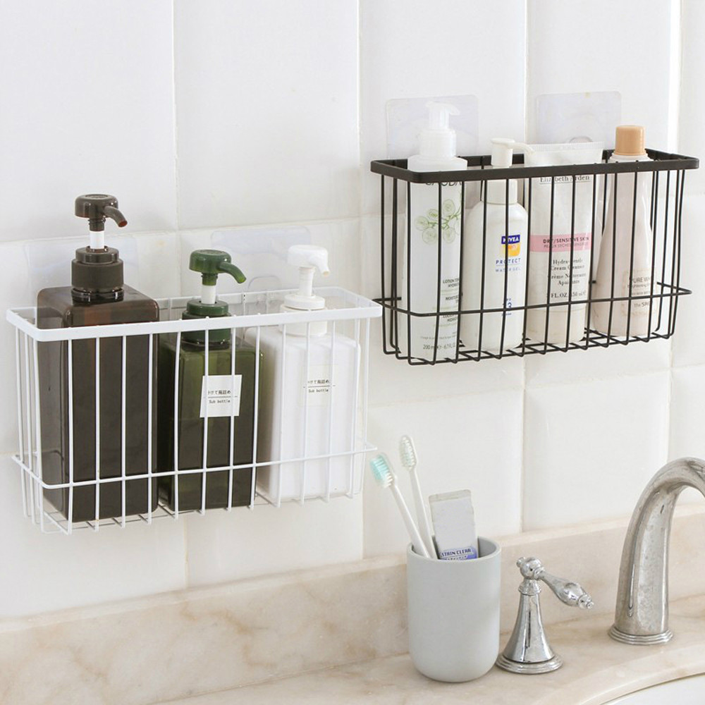 1PCs Creative Simple Kitchen Bathroom Products Storage Basket Rack Organizer  Iron Wire Basket Shelf  For Bathroom Products