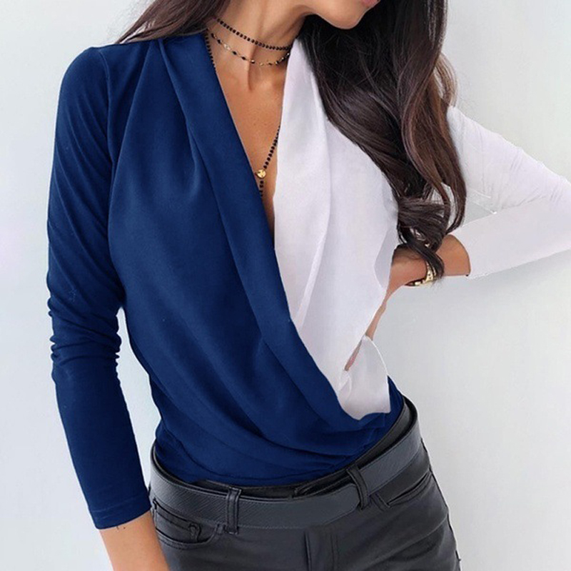 Sexy Autumn New Womens Tops Casual Ladies Long Sleeve Shirt Multi Color Stitching Deep V-Neck Fashion Women's Wear 2021