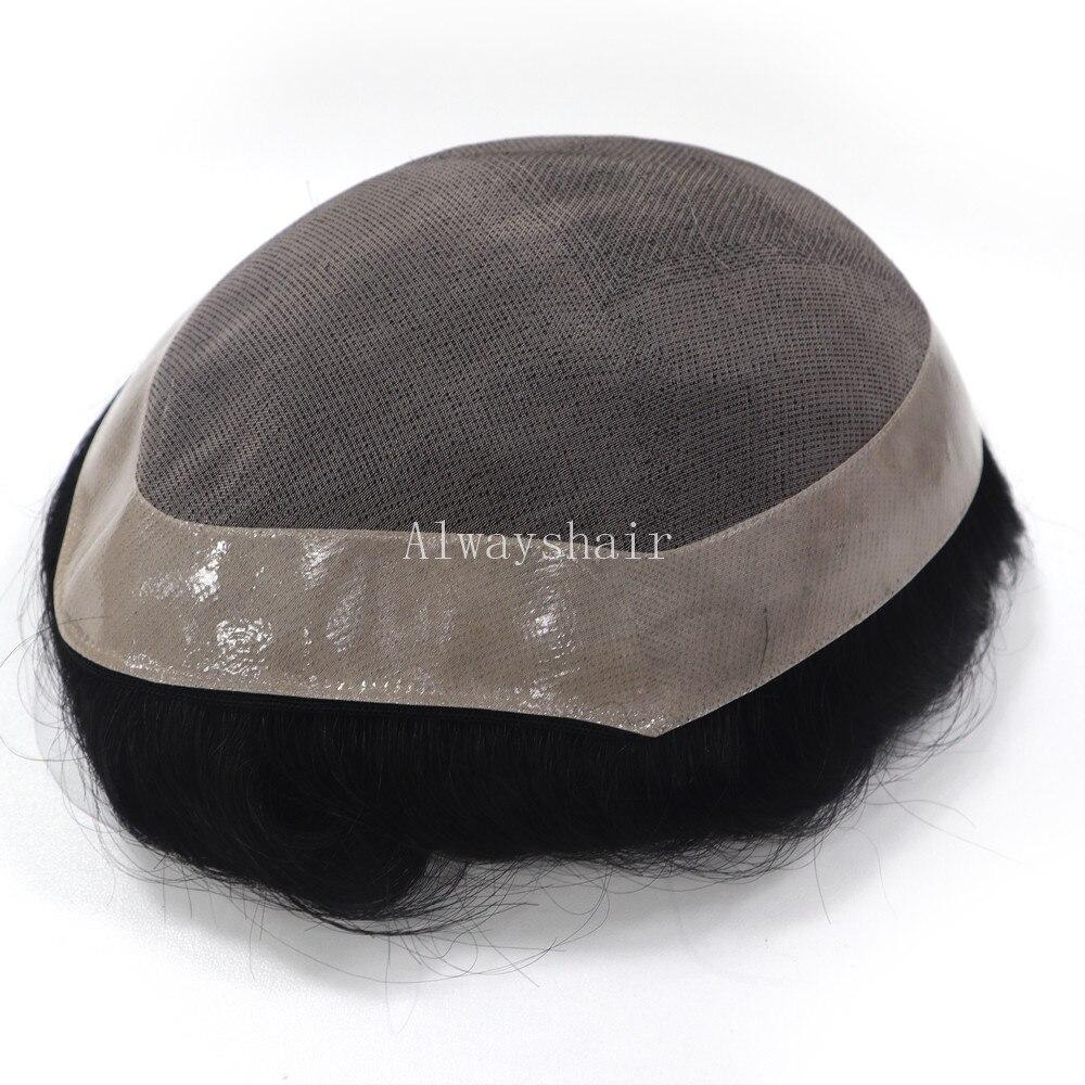 Trwałe grzywny Mono z poli powłoka tupecik dla mężczyzn 130% włosów Denstiye Mono peruka tanie 6 cali System włosów