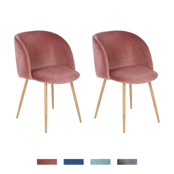 EGGREE Set of 2 Retro Vintage Armchair Velvet Fabric Tub Accent Chair Lounge Chair for Dining Living Room,Rose Grey Cactus Green premium tartan fabric tub chair armchair dining living room office reception hot sale