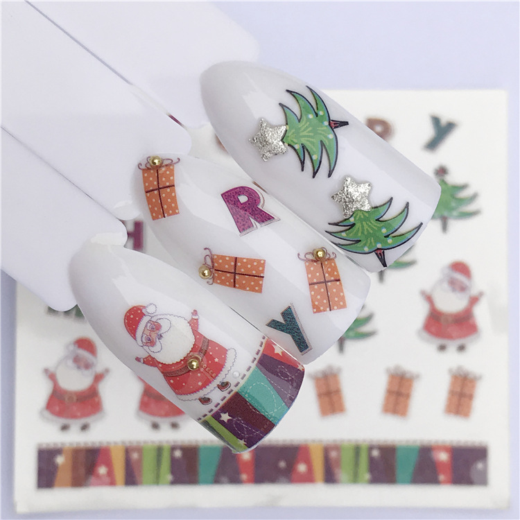 Christmas New Style Japanese Korean Type Watermark Nail Sticker Color Snowflake Nail Sticker Gift Snowman Elk Flower Stickers