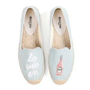 Image 2 - 2019 프로모션 세일 대마 웨지 코튼 원단 봄/가을 라운드 발가락 로마 zapatos de mujer 플랫폼 신발 lolita soludos