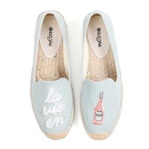 Image 2 - Calçados de tecido de cânhamo femininos, sapatos da plataforma forma do dedo redondo da primavera/verão 2019