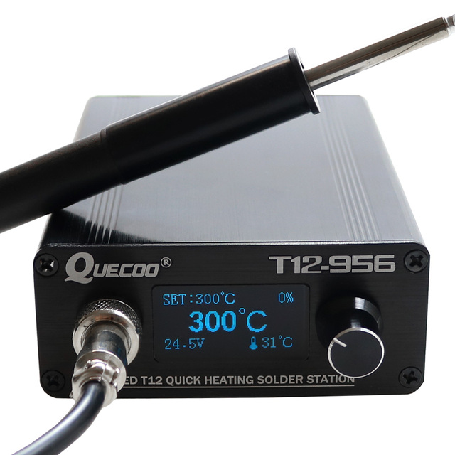 STC Estación de soldadura T12 956 soldador electrónico, estación Digital OLED T12, herramienta de soldadura de punta de hierro para soldadura con mango de T12 P9