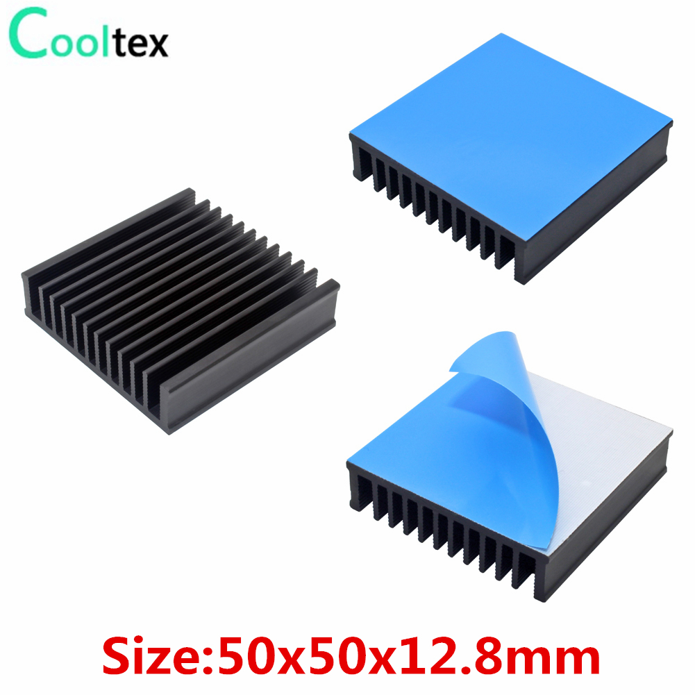 3pcs Aluminum Heatsink 50x50x12.8mm Heat Sink Radiator Cooling for Electronic Chip IC LED Computer with Thermal Conductive Tape
