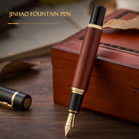 JinHao 650 or 8802 Luxury Wood Fountain Pen 0.5MM Nib High Quality Ink Pen for Writing Stationery School Office Supplies canetas|Fountain Pens|Education & Office Supplies -