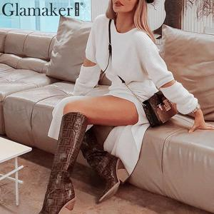 Image 3 - Glamaker White elegant knitted sweater winter dress Women hollow out two piece suit midi dress Autumn sexy party bodycon dress