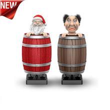 Рождество Санта Клаус винный бочонок автоматический портсигар держать украшения Санта Клаус деревянный бочонок сигареты компактный чехол@ 30