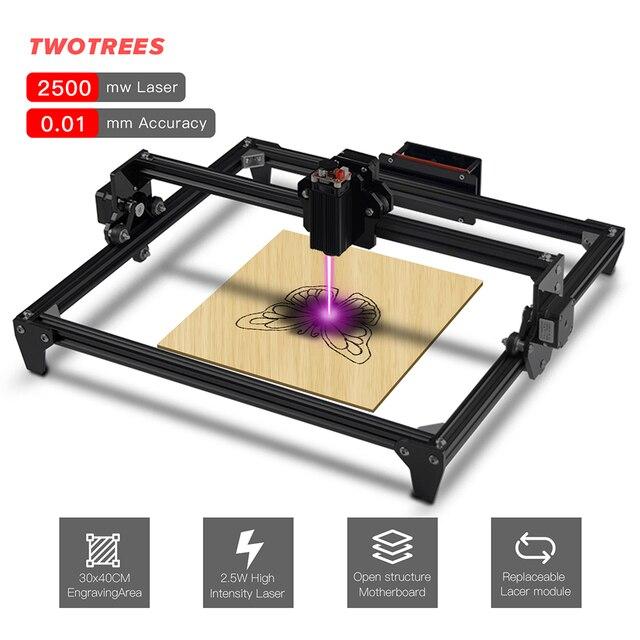 Twotreesトーテムcncレーザー彫刻機2500mw 5500mw 30*40センチメートルミニdiy 2軸簡単なインストールと2 * A4988モータドライバ