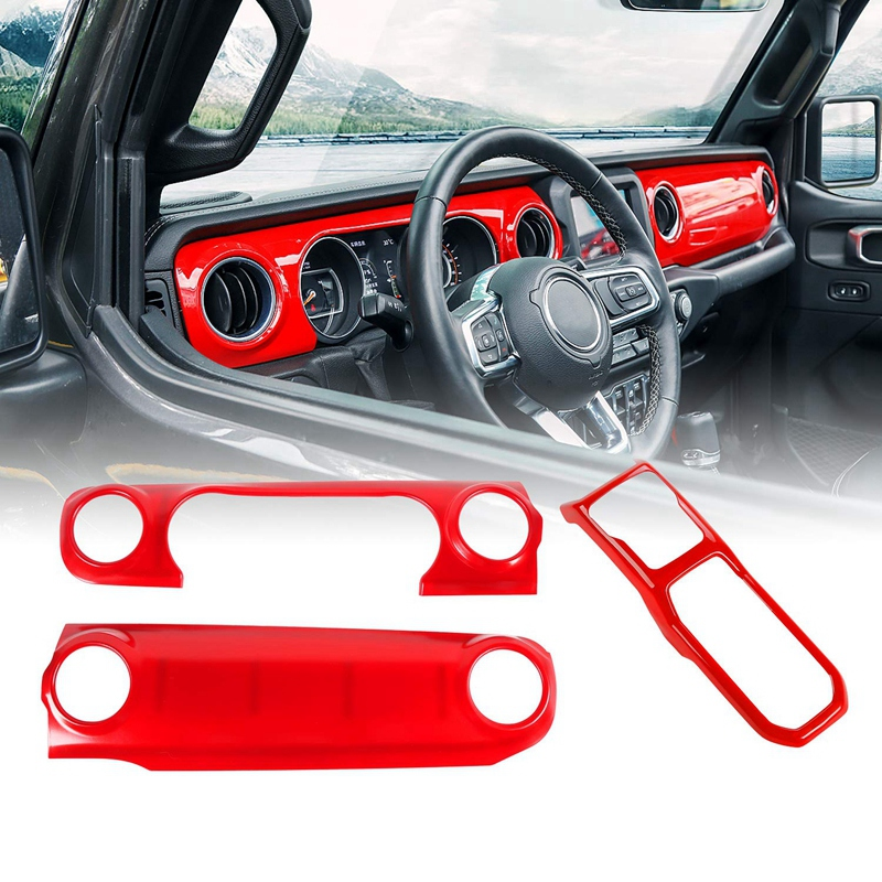 Car Gears Panel Shift Cover Trim Frame For 2018 Jeep Wrangler JL Red Accessory