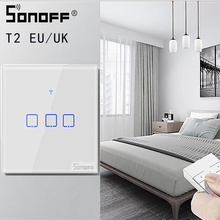 SONOFF TX/T2 ue/royaume uni 1/2/3 Gang lumière Led interrupteur mural tactile/Wifi/433Mhz RF télécommande/commande vocale panneau intelligent pour Google Home Alexa
