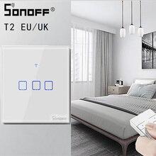 Интеллектуальный выключатель света SONOFF TX/T2 ЕС/Великобритания 1/2/3 Gang светильник светодиодный настенный сенсорный переключатель/Wi Fi/433 МГц RF пульт дистанционного управления/Голосовое управление Управление Смарт Панель для Google Home Alexa
