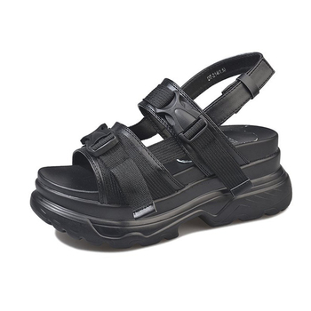 Platform Women's Sandals 2019 Fashion Summer Leather Buckle Women Thick Soled Beach Sandal Casual Chunky Woman Shoes