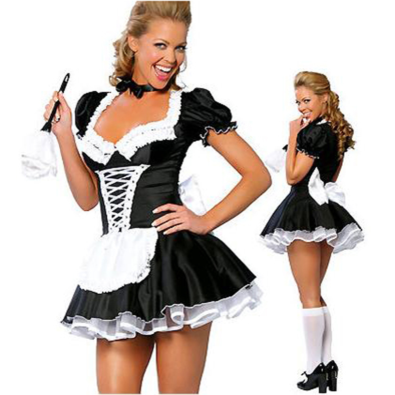 Utmeon Plus Size S-6XL Sexy Costumes Women's Night French Maid Cosplay Costume For Halloween Women's Exotic Servant Dress