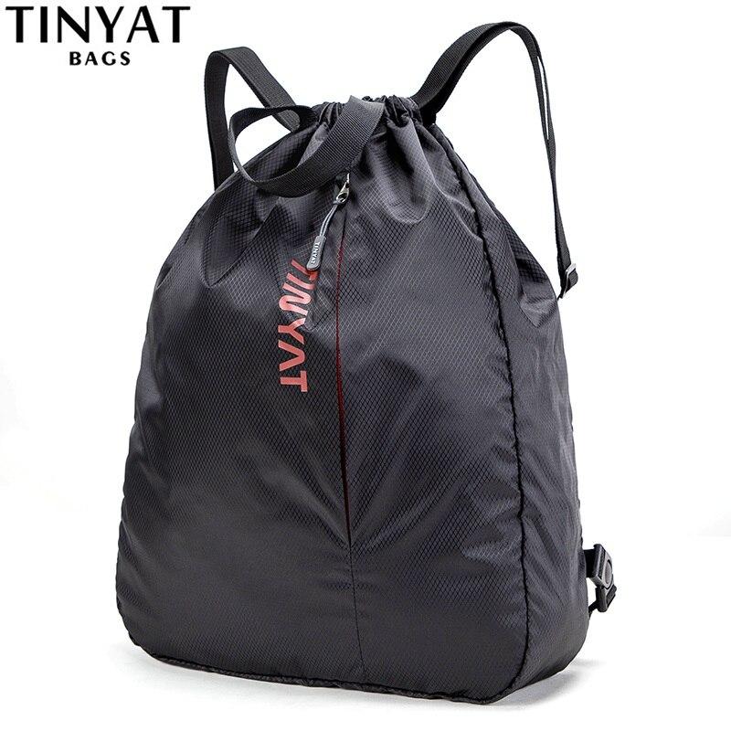 Tinyat Men Women Sports Casual Drawstring Bags Backpack Waterproof Light Leisure Shoulder Bag Quality Black