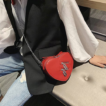 Women Red Heart Shape Shoulder Bag Korean Style Ladies Chain Crossbody Bag Purse And Clutch Bag Pu Leather Bag women s solid color heart shape clutch bag page 4 page 4