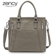 Zency Casual Tote Handbag 100% Genuine Leather High Quality Lady Shoulder