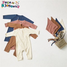 Newborn Baby Boy Girl Clothes Toddler Solid Long Sleeve Romp