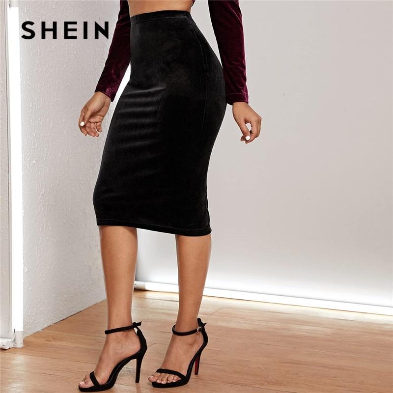 SHEIN Black High Waist Split Hem Velvet Pencil Skirt Women Bottoms 2020 Spring Fashion High Waist Glamorous Solid Midi Skirts