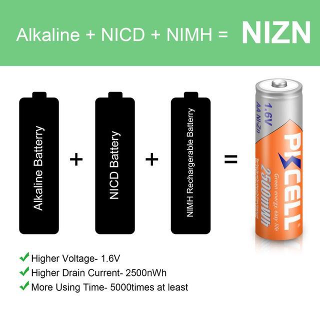 Фото 12 шт pkcell nizn aa аккумуляторная батарея ni zn 2500mwh 16 цена