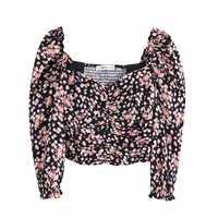 Moda feminina floral impressão plissado Camisa blusas mulheres elástico curto roupas femininas retro gola quadrada camisa chemise LS4016