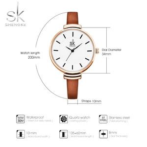 Image 3 - Shengke革ストラップ女性の腕時計カジュアル薄型バンドクォーツ腕時計女性レロジオfemininoレディースヴィンテージ腕時計