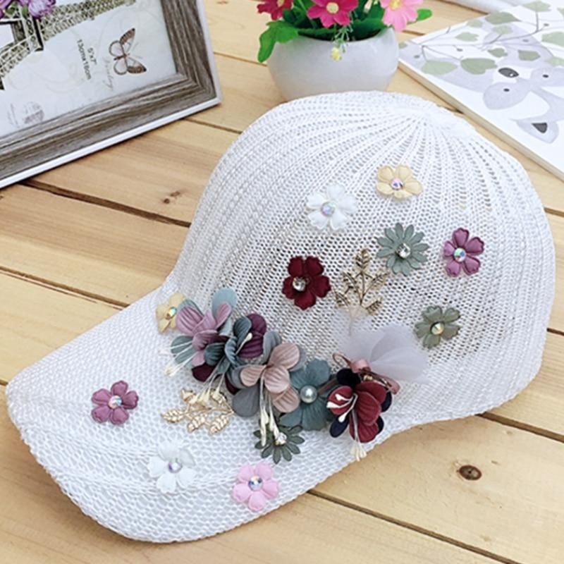 Elegant Women's Baseball Cap Hot Diamond Flower Girls Snapback Hats Woman Female Cap Mesh Summer Sun Hat