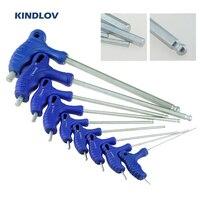 KINDLOV-Juego de llaves Allen de CR-V, llave Universal de doble extremo, llave hexagonal de cabeza de bola, mango tipo T, herramientas de reparación para el hogar, 9 Uds.